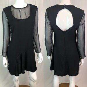 Vintage 80s 90s Mesh Open Back Grunge Flare Dress